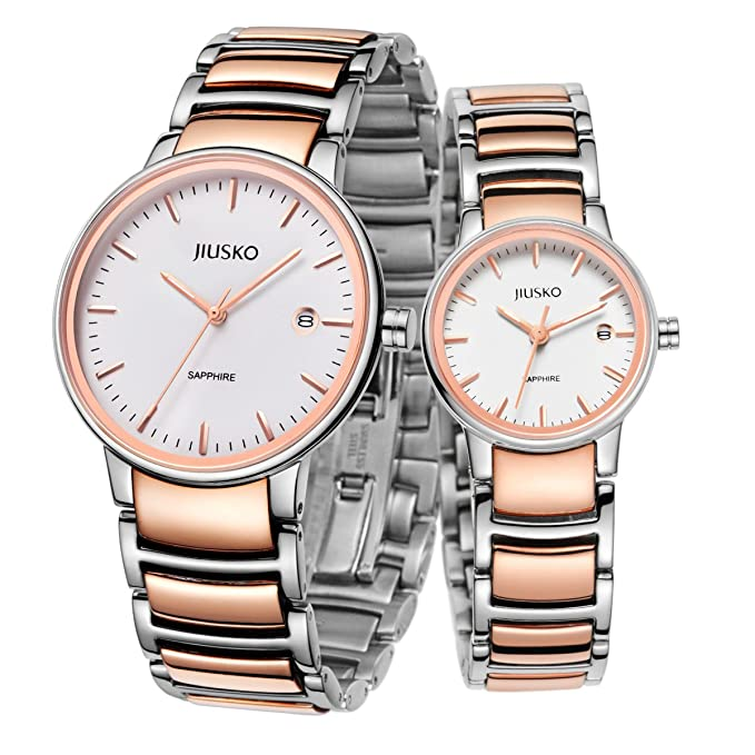 Jiusko Sapphire - His Hers Couples Watches Gift Set - Two Tone - Date - Silver Rosegold