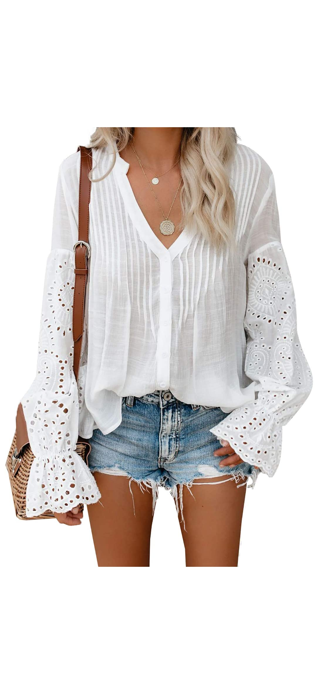 Womens Embroidered V Neck Crochet Lace Tunic Casual Tops