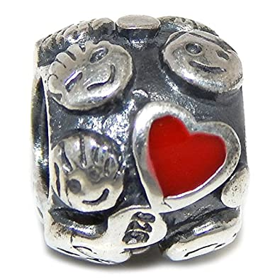26631cc3d Image Unavailable. Image not available for. Color: Pro Jewelry 925 Solid  Sterling Silver Spacer with Children's Faces and Red Hearts Charm Bead