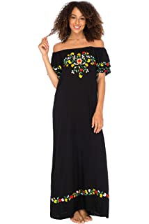 4345184e73f4 Back From Bali Womens Off Shoulder Long Mexican Embroidered Dress Maxi Boho  Floral Summer Peasant Dress