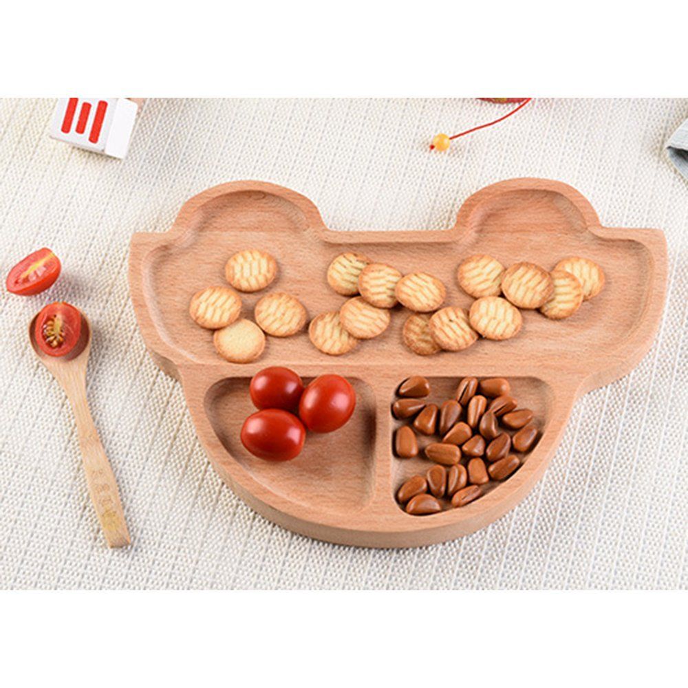 Wispun Wooden cartoon tray - Natural Beech Wood Plate Dinner Dishes for Children Kids Toddler (Cartoon car) by Wispun (Image #1)