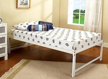 Amazon.com: Kings Brand Furniture White Metal Twin Size Platform Bed ...