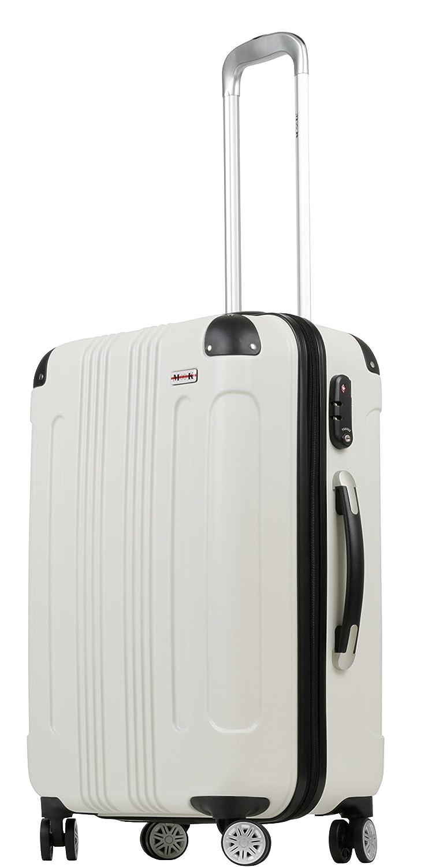 (ムーク)M∞K 超軽量スーツケース 【一年保証】 ダブルキャスター TSAロック付き B01ICU19YA Lサイズ(7泊~目安/約95L)|ホワイト ホワイト Lサイズ(7泊~目安/約95L)