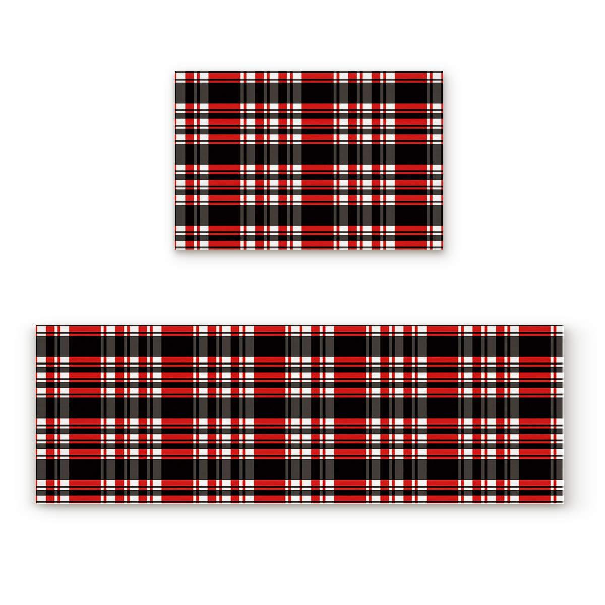 Lattice12FIY7833 23.6x35.4In+23.6x70.9In Findamy Non-Slip Indoor Door Mat Entrance Rug Rectangle Absorbent Moisture Floor Carpet for Classic White Red and Black Lattice Pattern Doormat 23.6x35.4In+23.6x70.9In