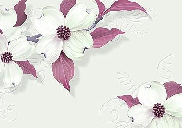 Fototapete Weisse Blumen Gips Ornament Blüte Violet Blütenstängel Vliestapete