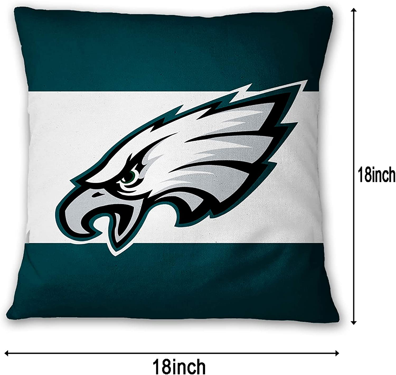 Deztibos Throw Pillow Covers Super Bowl Pillowslip Football Team Pillow Protecter Soft Square Pillowcase With Hidden Zipper For Home Decor Sofa Car 18 X18inches Eagles Sports Outdoors Fan Shop