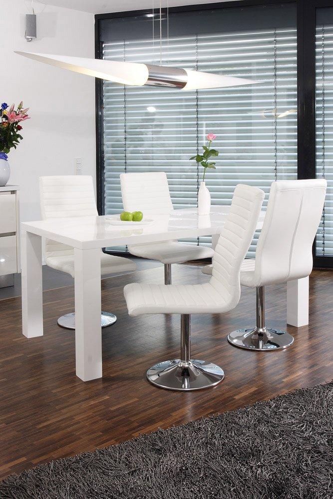 SalesFever Essgruppe Tisch 180x90 Cm Weiß Mit 6 Stühlen