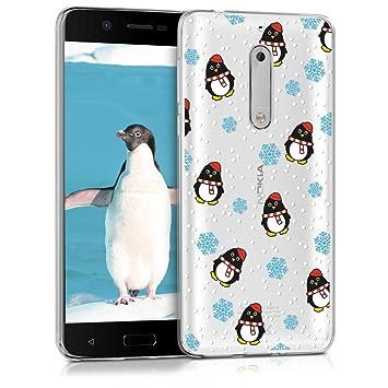 kwmobile Funda compatible con Nokia 5 - Carcasa de TPU y diseño de pingüino en negro / azul claro / transparente