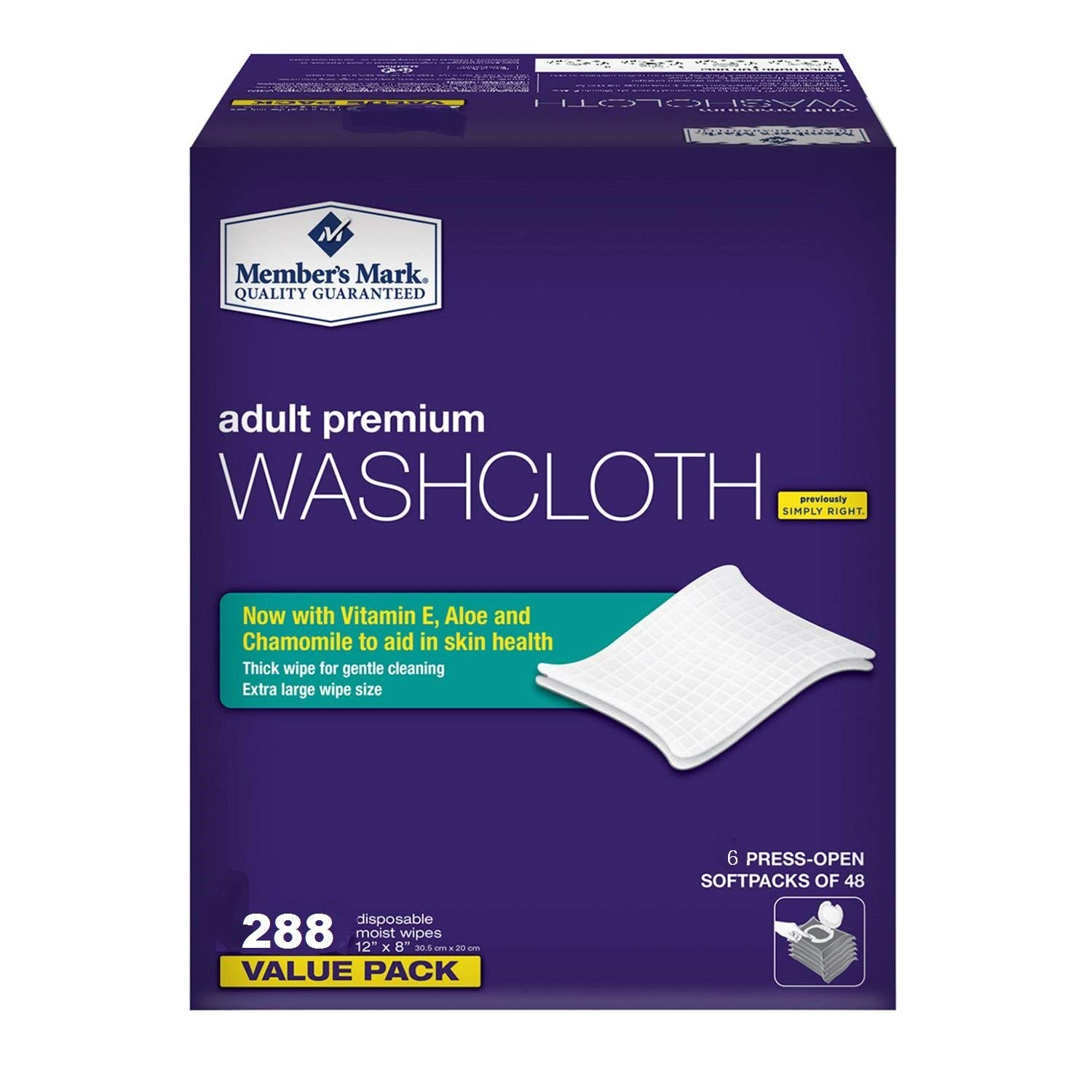 Member's Mark Adult Premium Disposable Washcloth Value Pack 288 Count 1, Blue (3 Pack)