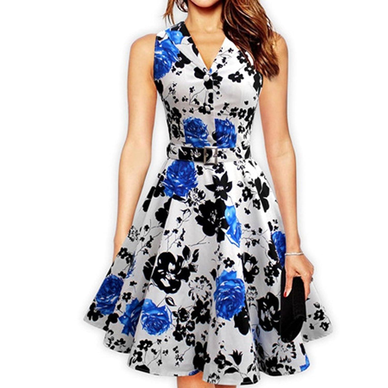 Fanessy Dress 50er Jahre Vintage-Kleid Retro Audrey Hepburn Rockabilly Knielang Kleid mit roten Blumen Pareos und Strandkleider s Rock tunika damen Tops