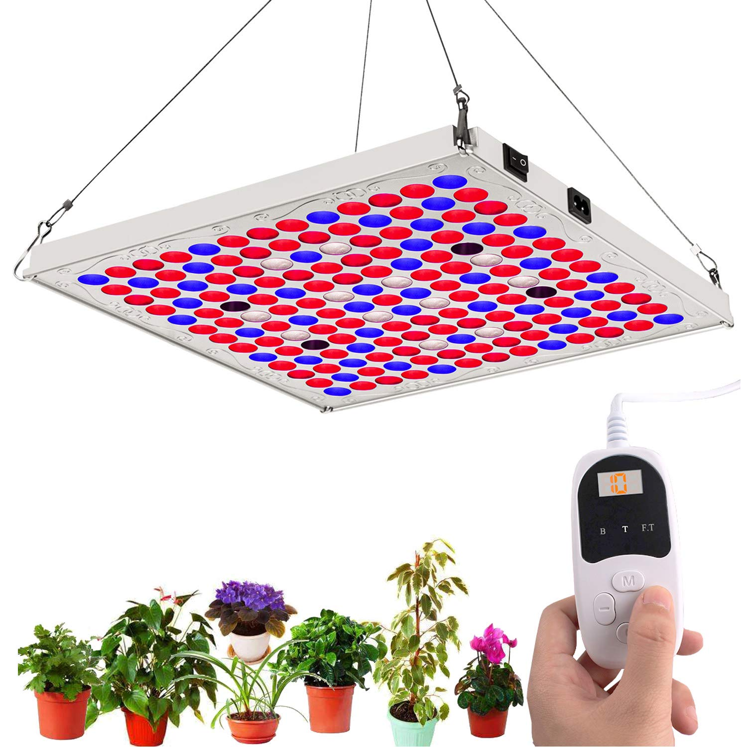 TOPLANET LED Grow Lights for Indoor Plants with Timer, 75W Full Spectrum Plant Growing Lamp with IR Bulbs for Hydroponics Grow Box Greenhouse Veg and Flowers Seedlings Bloom