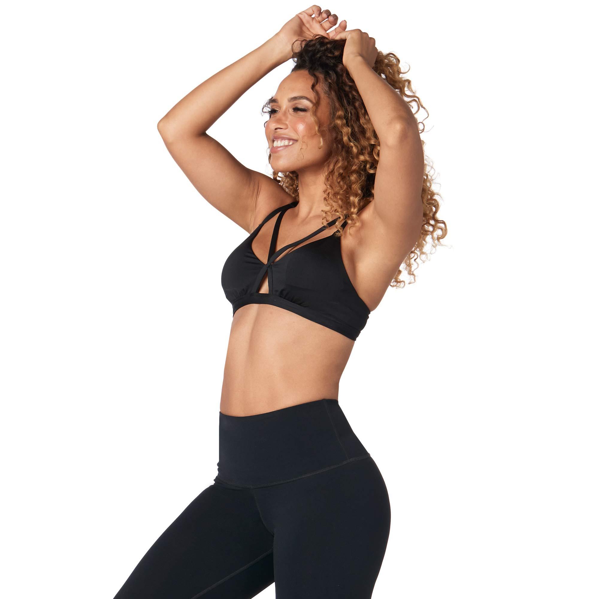 Zumba Women's Activewear Fashion Print Bralette with Straps, Bold Black, X-Small