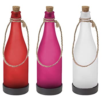 Solar botellas Set LED Jardín Lámpara Blanco/Rojo/lila exterior Leuchten