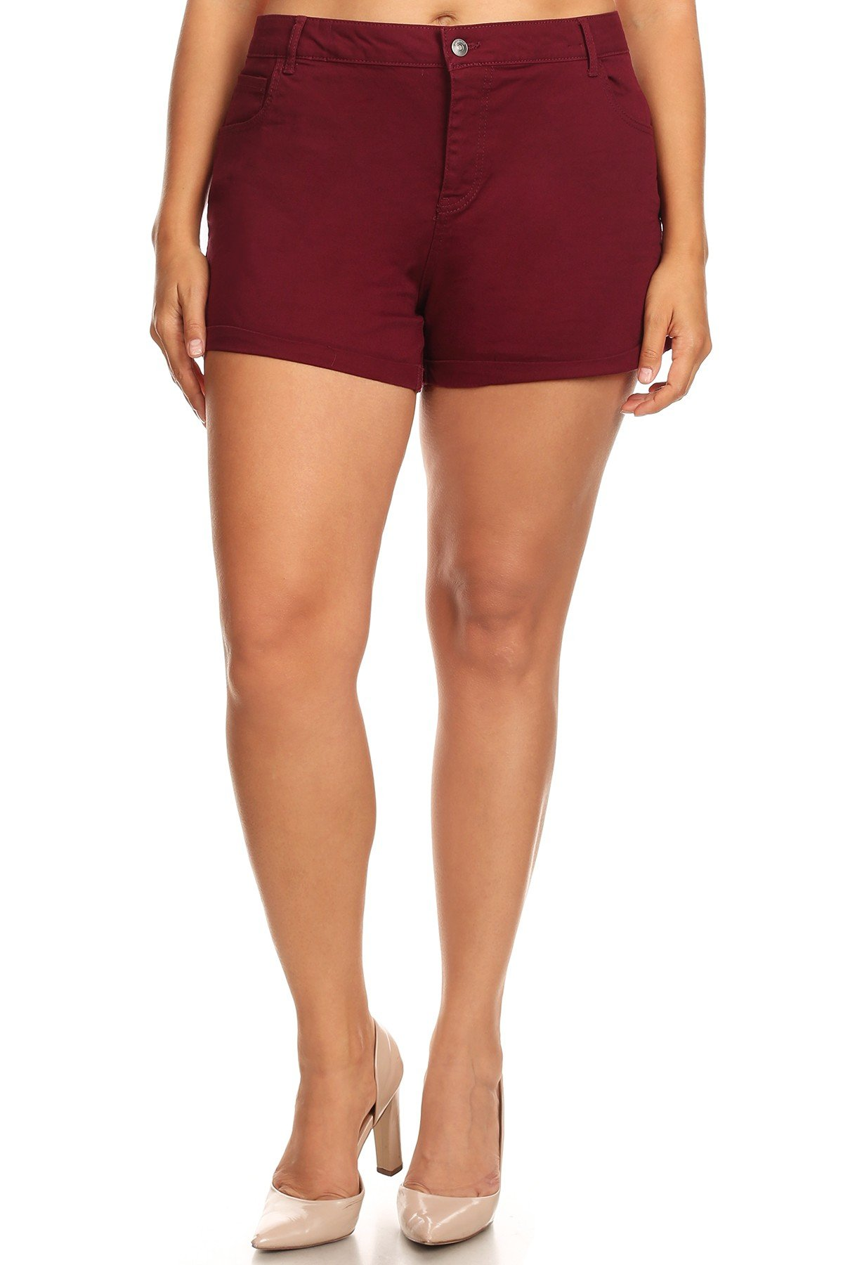 Women's Plus Size One Button Cuffed Cotton Shorts (1X, Burgundy)