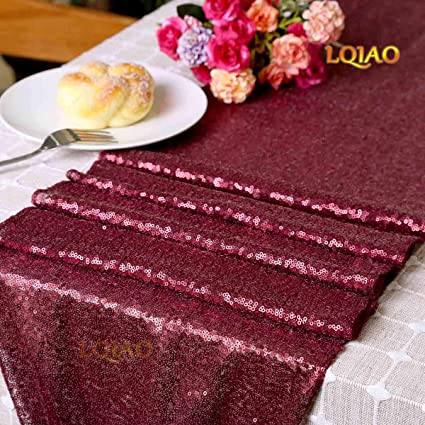 Attrayant LQIAO Burgundy 30x180cm Burgundy Sequin Table Runner Shimmer Sequin Fabric  Wedding Table Cloth Party Linen For