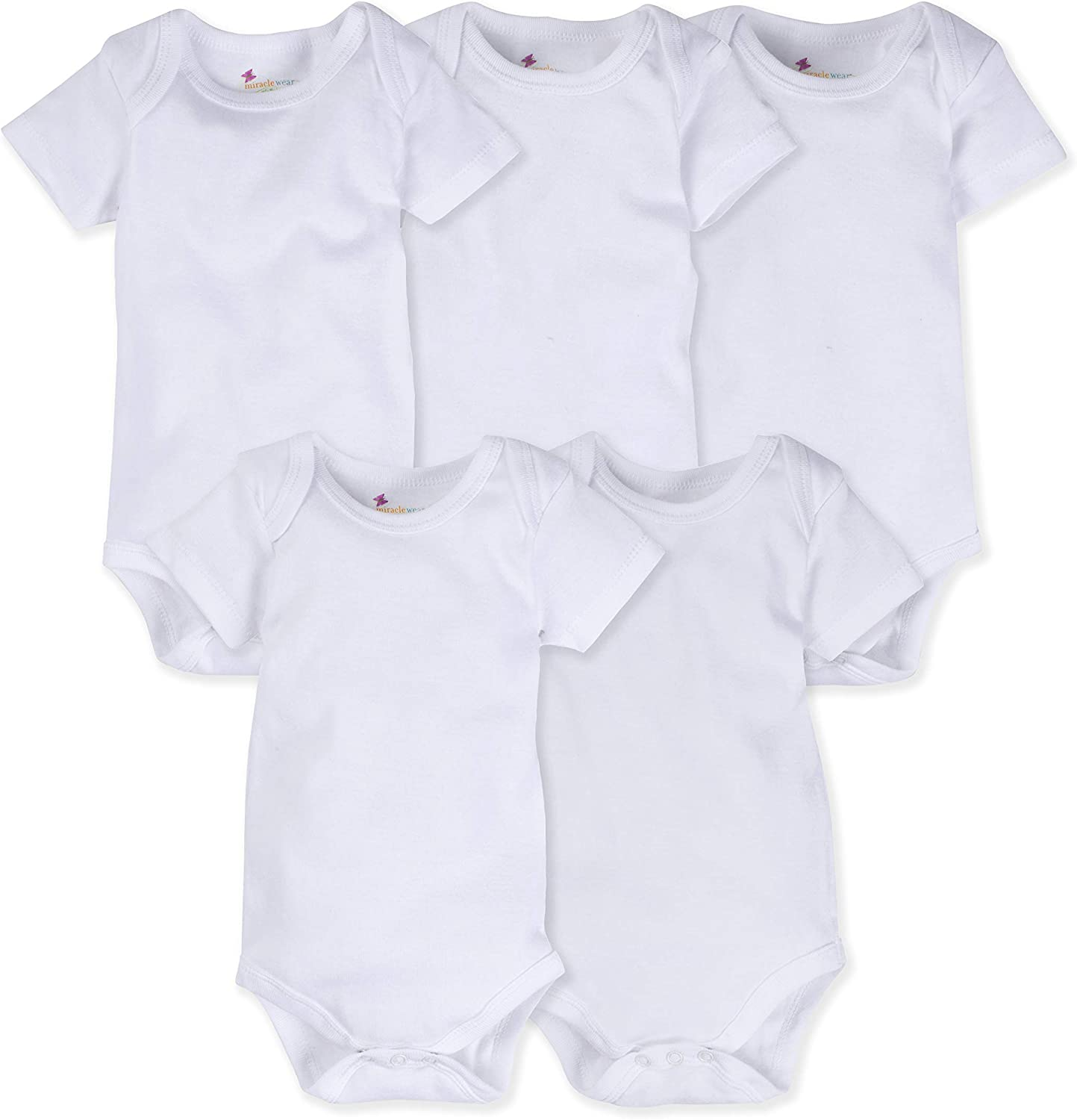 MiracleWear Solid Color Baby 5-Pack Bodysuits Short-Sleeve Daywear for Boy, Girl & Neutral Unisex …