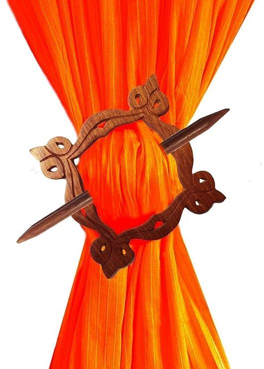 La corbata de madera decorativa hecha a mano Tieback, Holdbacks se ...