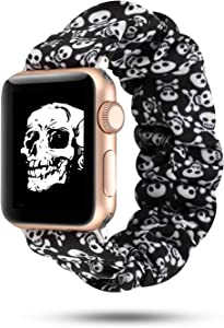 WONMILLE Cloth Scrunchie Band Compatible with Apple Watch Band 38mm/40mm, Women Girls Elastic Bracelet Scrunchy Soft Fabric Wristbands for Iwatch 3/2/1 Accessories (White Skull, 38mm/40mm)