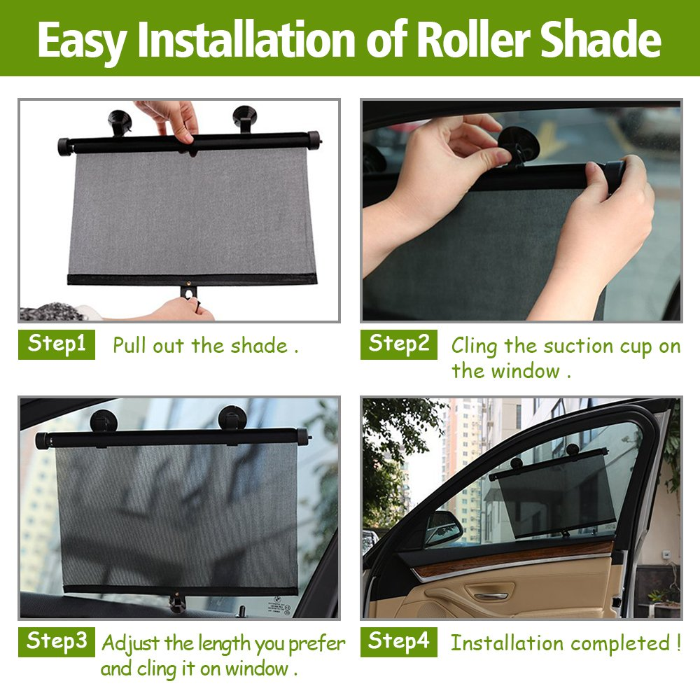 Car Sun Shade for Side Window,Metacrafter Car Rear Window Shade Roller Retractable Curtain Sunshade Protector for Baby Kids Pets with Suction Cup-Blocks 98/% Harmful UV Rays-Keep Vehicle Cool 2 Pack