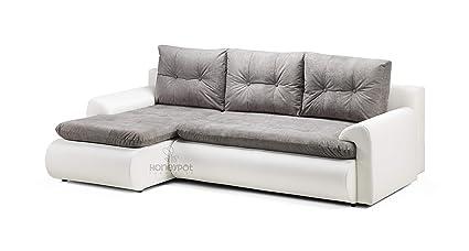 sale retailer 3a51c 24d55 Honeypot Furniture - Sofa - Calasetta - Corner - Sofa bed - Storage - Faux  Leather/Fabric (White/Grey, Left Hand Corner)