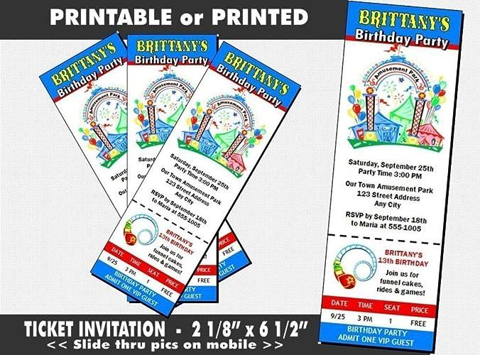 Amusement Park Birthday Party Ticket Invitation Printable Or Printed Option