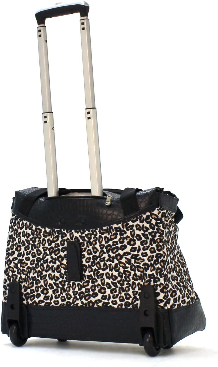 One Size Cheetah Olympia Deluxe Fashion Rolling Tote