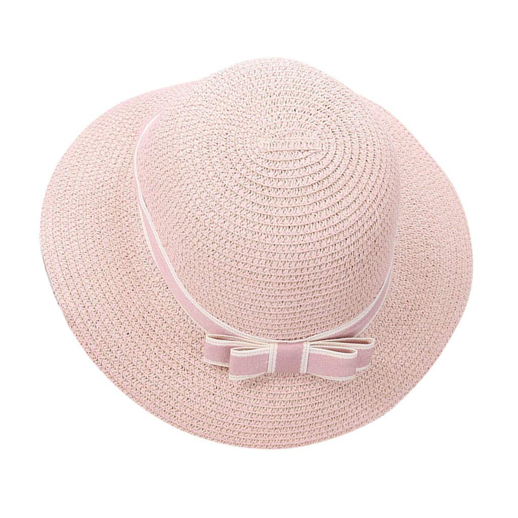 WaiiMak 2019 New Summer Beach Hat Female Casual Panama Hat Lady Brand Women Flat Brim Bowknot Straw Cap Girls Sun Hat