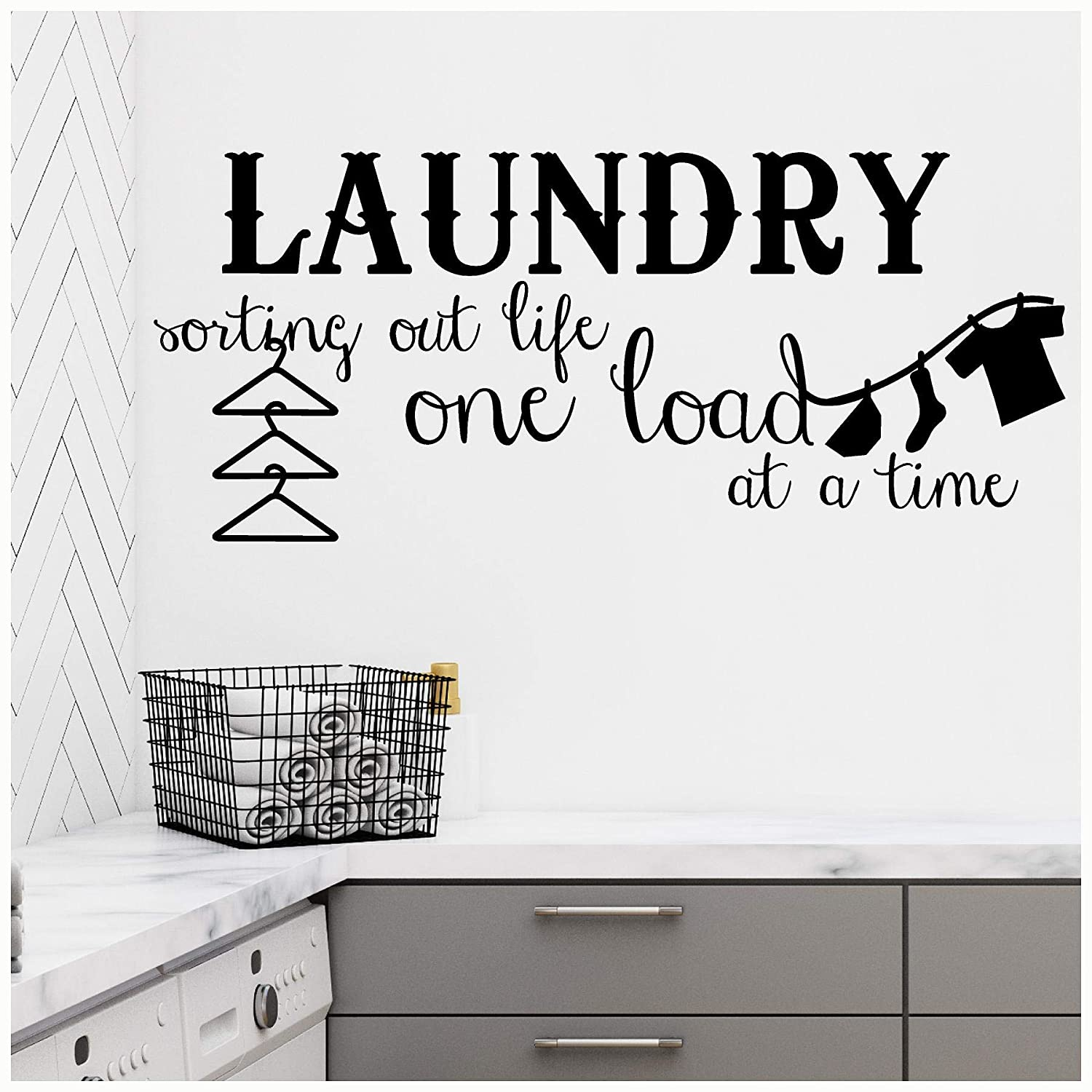 Wall Sayings Vinyl Lettering Laundry Sorting Out Life One Load at a Time Vinyl Lettering Wall Decal Sticker 16H x 38L, Black