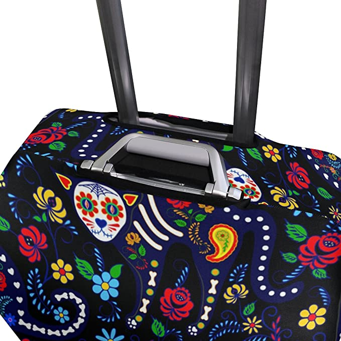 ALAZA Sugar Skull Cat Polyester Luggage Travel Suitcase Cover Case Protector