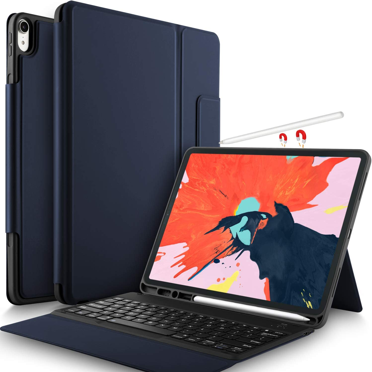 IVSO Keyboard Case for iPad Pro 12.9 2018-3rd Gen One-Piece Wireless Keyboard [Compatible Apple Pencil Charging] Auto Wake Sleep Case with Keyboard for iPad Pro 12.9 2018 (Not for 2017/2015) Blue