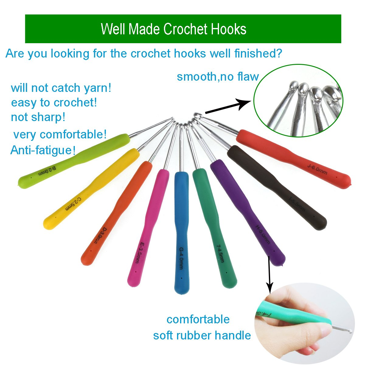 New Set of 47 Ergonomic Crochet Hooks Set w Rubbery Handles Hook 0.6-6MM, Comfort Grip for Arthritic Hands by LOOEN (Image #3)