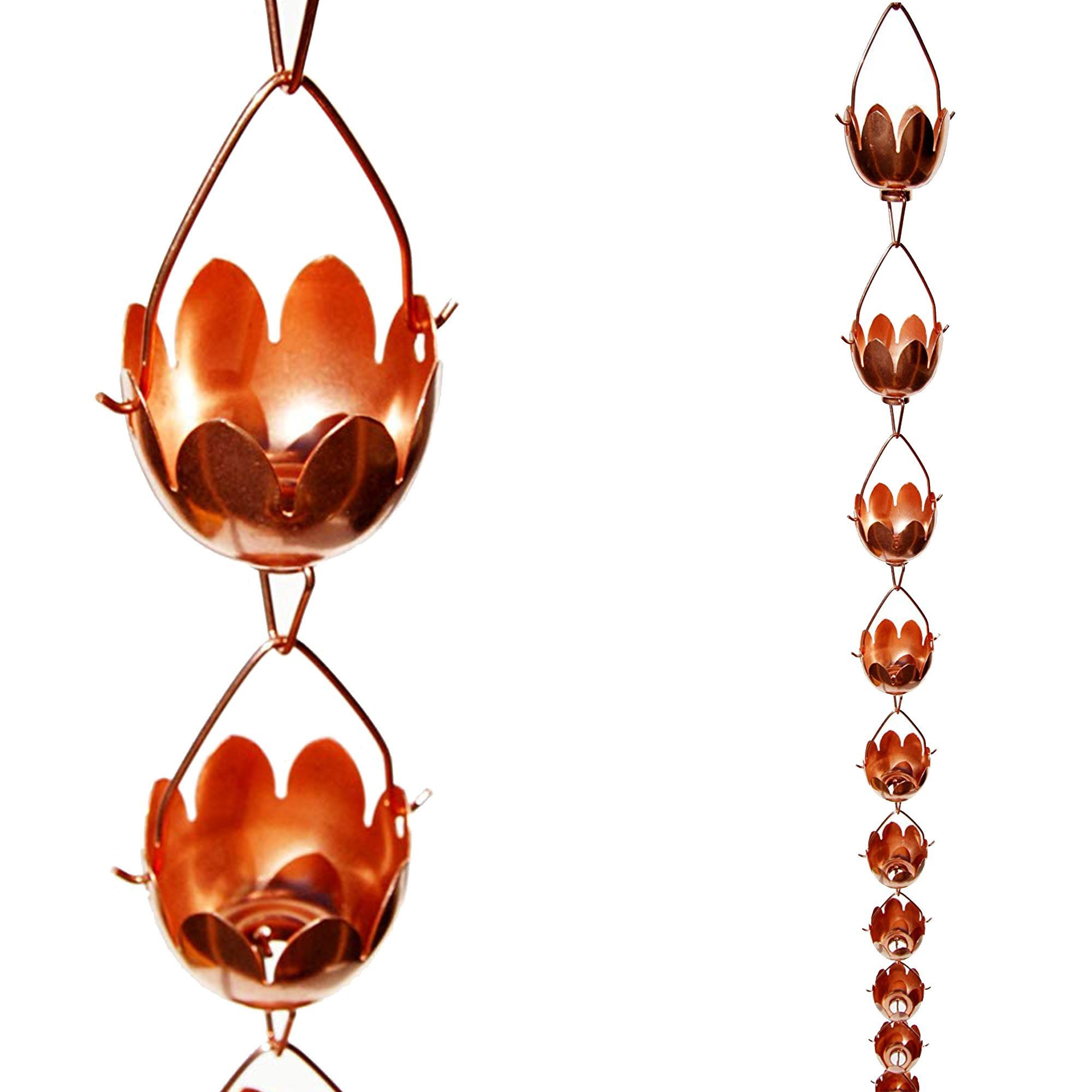 Stanwood Rain Chain Lotus Lily Flower Copper Rain Chain, 8-Feet