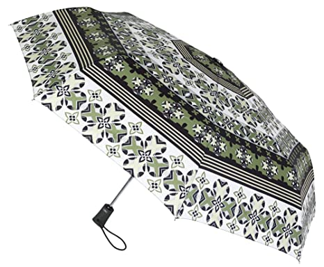 Paraguas Plegable Abre Cierra Automático. Bonito Estampado. Paraguas Vogue de Color Verde. Antiviento