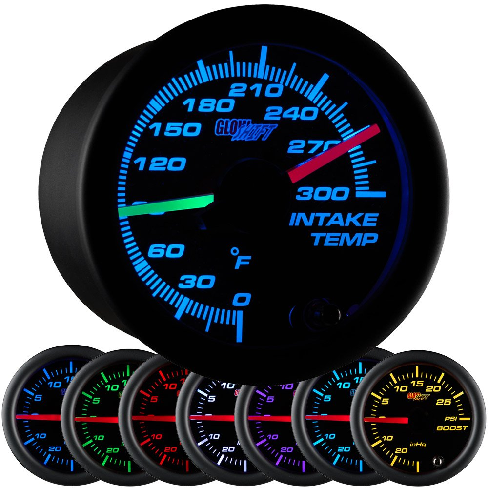 GlowShift Black 7 Color 300 F Dual Intake Intercooler Temperature Gauge Kit - Includes 2 Electronic Sensors - Red & Green Illuminated Analog Needles - Black Dial - Clear Lens - 2-1/16'' 52mm