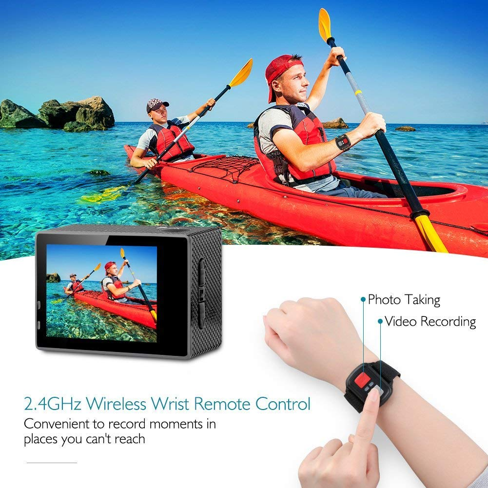 Dragon Touch 4K Action Camera, 16MP Sony Sensor Vision 3 Underwater Waterproof Camera 170° Wide Angle WiFi Sports Cam with Remote 2 Batteries and Mounting Accessories Kit