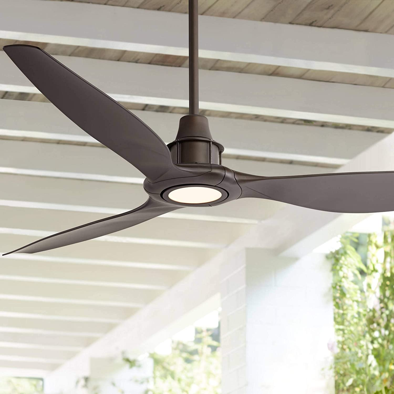 58 Interceptor Modern Outdoor Ceiling Fan With Light Led Dimmable Remote Control Oil Rubbed Bronze Damp Rated For Patio Porch Casa Vieja Amazon Com