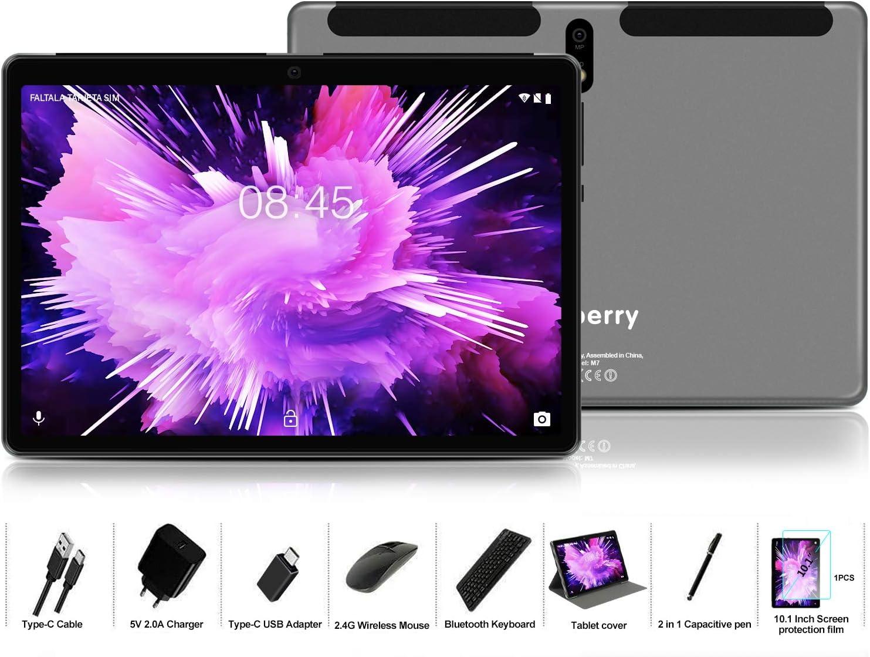 MEBERRY Tablet 10 Pulgadas Android 9 Pie Ultrar-Rápido Tablets 4GB RAM + 64GB ROM - Certificación Google gsm - Dual SIM - 8000mAh | WI-FI | Bluetooth | GPS | Type-C Tablet (5.0+8.0 MP Cámara) - Gris