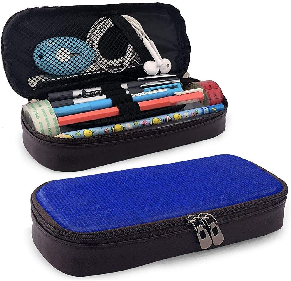 Bolso de cuero de la cremallera del bolso del lápiz del cuero de la PU, tela de saco de arpillera tejida azul natural natural