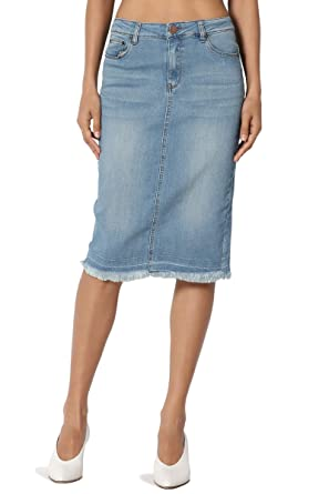 87593735382 TheMogan Women s Butt Lift Washed Blue Jean Pencil Midi Soft Denim Skirt  Light M