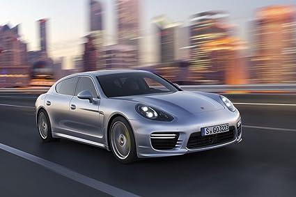 Porsche Panamera (2014) Car Art Poster Print on 10 mil Archival Satin Paper Silver