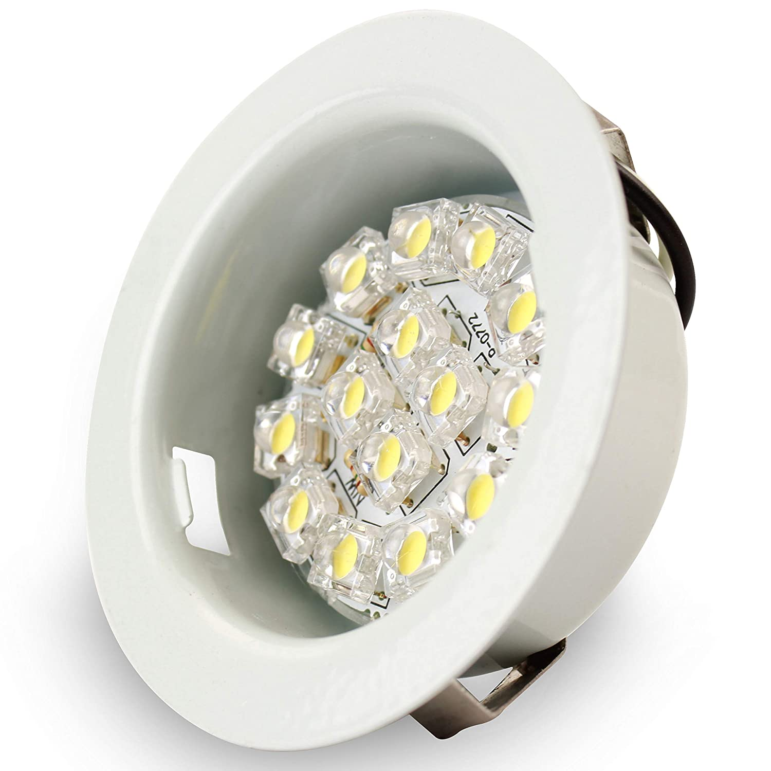 6-Pack Leisure LED 3 Inch 6 Pack LED RV Puck Light Full Aluminum and Glass Recessed Mount Down Light 12V 3W 210 Lumens