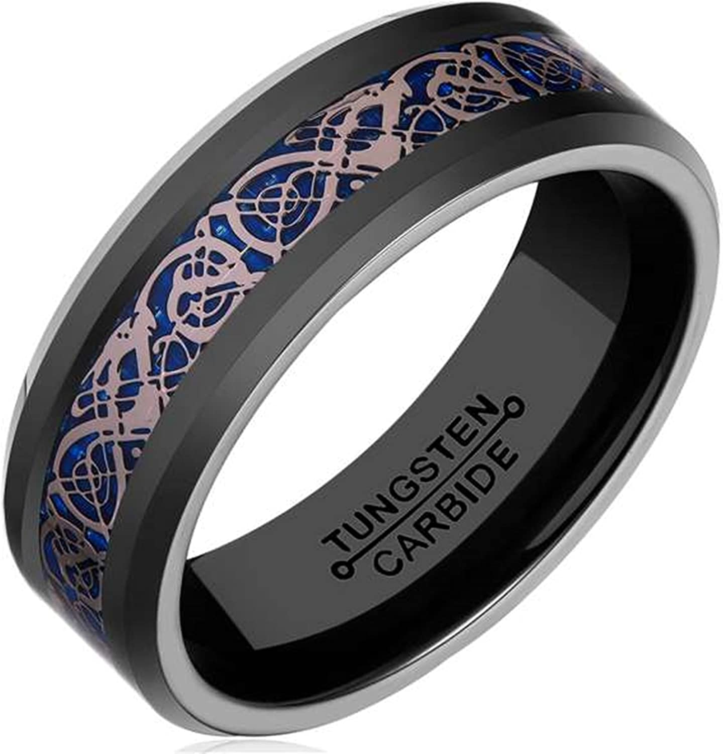 AMDXD Jewelry Free Engraving Rings for Men Round Blue Black Wedding Bands 8MM