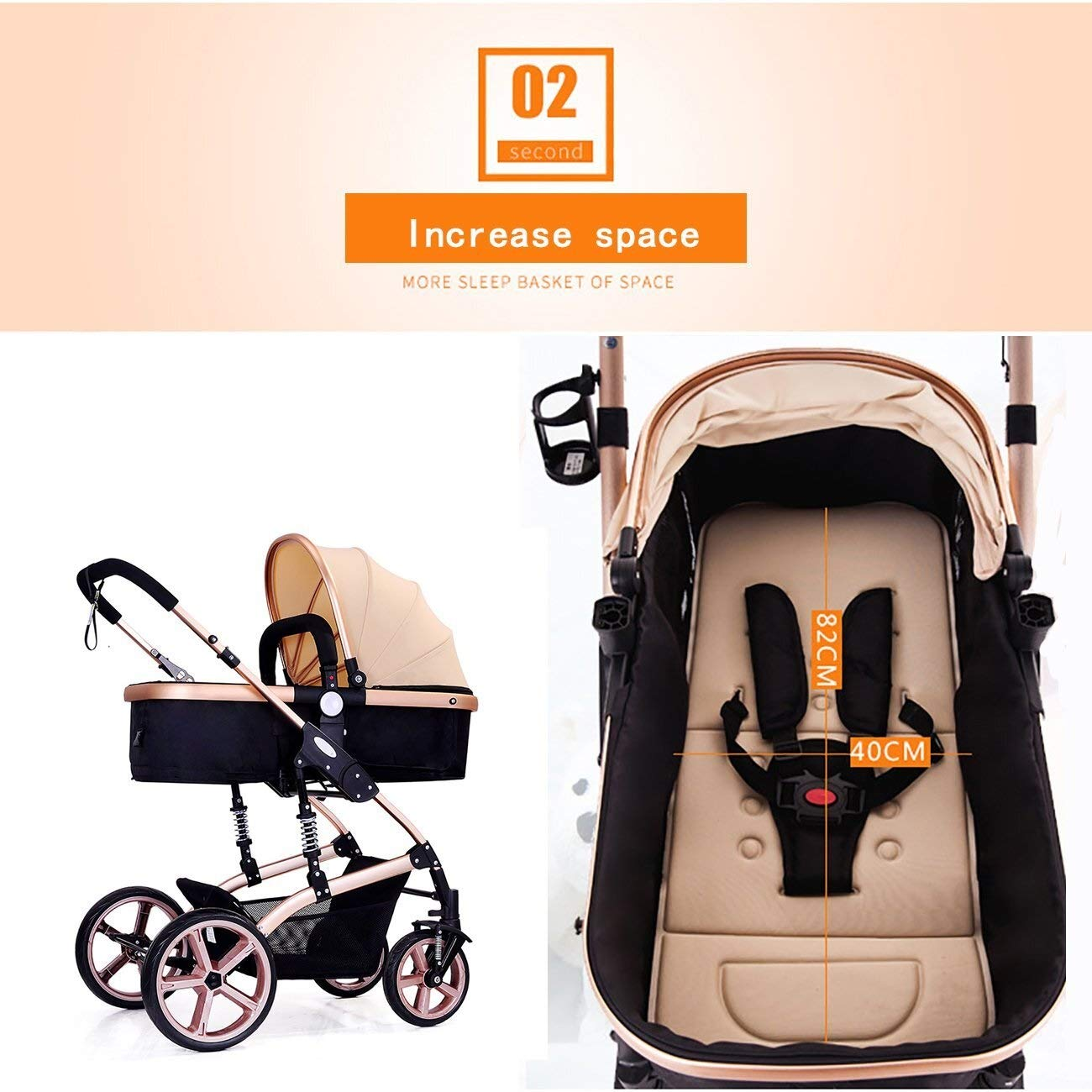 High Landscape Toddlers Baby pushchairs Bidirectional Newborn Strollers Suitable for Children 0-3 Years Old Fashion Four Seasons prams can fold (Color : Pink)