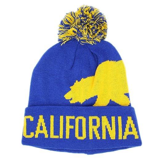 LAFSQ California Bear Cuff Pull-On Skull Pom Beanie Knit Hat (Blue Yellow fb50ddab464