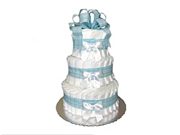 Perfect Classic Pastel Baby Shower Diaper Cake (3 Tier, Blue)