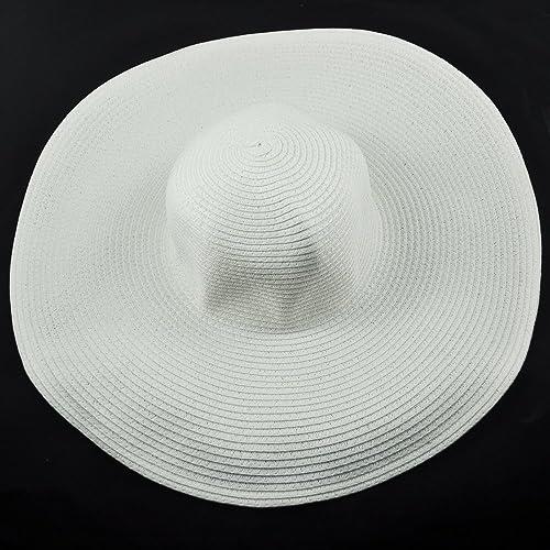 TOOGOO(R) Sombrero de Sol Playa Flexible Borde Ancho Grande para Mujeres - Blanco