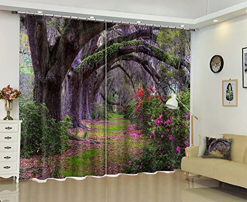LB Ancient Trees in The Forest Scenery View 3D Blackout Curtain and Drapes,2 Panels Polyester Window Treatment Decorative Curtain for Bedroom Living Room,59 by 108 in Long