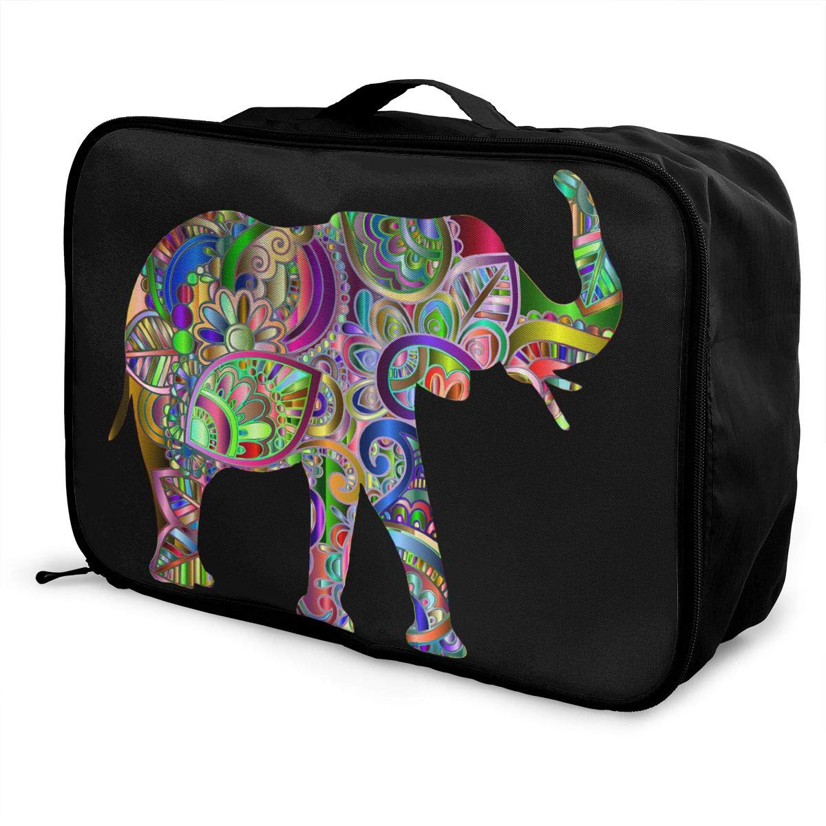 Elephant Animal Abstract Art Colourful Leaf Shape Travel Lightweight Waterproof Foldable Storage Carry Luggage Large Capacity Portable Luggage Bag Duffel Bag
