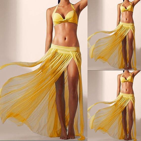 Mujer Disfraz Vintage Capas Falda Gasa Mujer Profesional Color SóLido Malla Danza del Vientre Alta Falda De Hendidura Swing Maxi Falda Ropa Danza Moderna ...