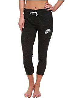 Nike Gym Vintage Womens Capris Sweatpants 813875 010 (m),Black Heather